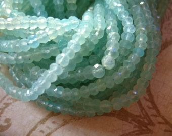 Shop Sale... 1/2 Strand, SEAFOAM AQUA Chalcedony Rondelles Beads, Luxe AAA, 3.5-4.5 mm, Faceted, brides bridal weddings wholesale