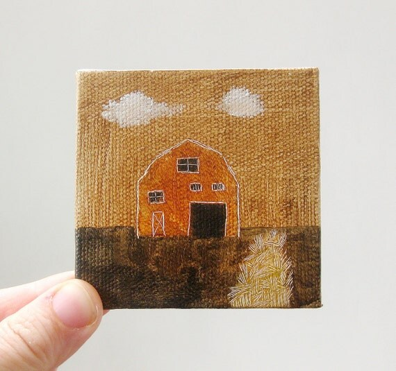 tiny barn / original painting on canvas