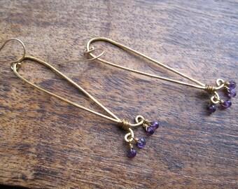 Amethyst Long de Lis  Earrings