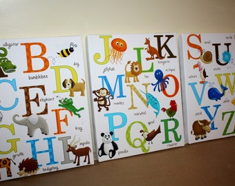 Set of 3 Animal Alphabet Kids Bedroom Playroom Baby Nursery 8x10 Art on Stretched CANVAS