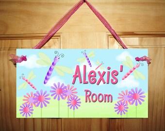 Pretty Dragonfly Girls Bedroom DOOR SIGN Wall Art DS0170
