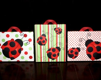 Set of 3 Red Mod  Ladybug Girls Stretched Canvases Kids Bedroom Baby Nursery CANVAS Bedroom Wall Art 3CS021