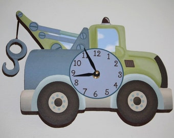Tow Truck Transportation Boys Wooden WALL CLOCK for Kids Bedroom Baby Nursery WC0050