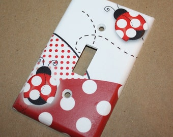 Red Mod Ladybugs Girls Bedroom Single Light Switch Cover