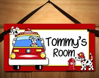 Firetruck Puppy Dalmations Bedroom DOOR SIGN with Red Firetruck DS0146