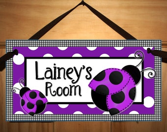 Purple Ladybug Girls Bedroom Nursery DOOR SIGN Wall Art DS192