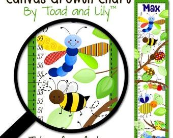 Canvas GROWTH CHART Happy Little Bugs Boys Bedroom Baby Nursery Wall Art GC0134