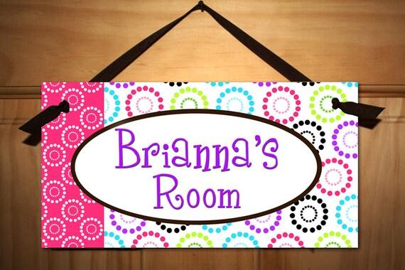 Children S Party Box Wall Art For Girl S Bedroom: Pretty Dots Girl Teen DOOR SIGN Kids Bedroom Playroom Wall