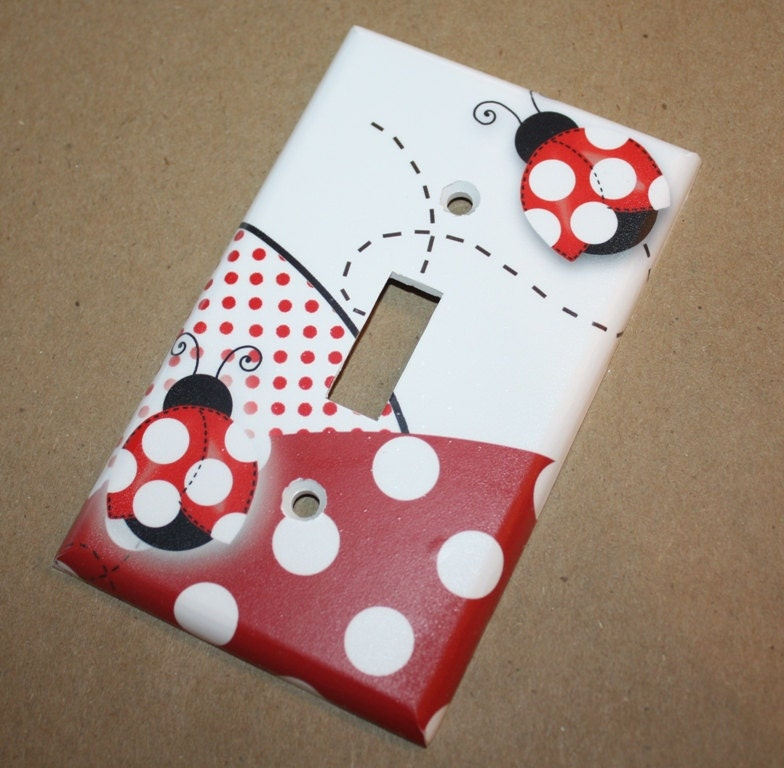 red mod ladybugs girls bedroom single light switch by toadandlily