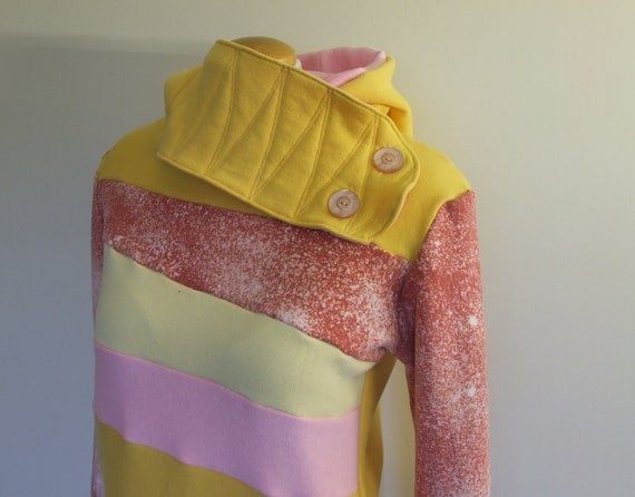 POLLINATION - Hoodie Sweatshirt Sweater - Recycled Upcycled - One of a Kind Women - MEDIUM