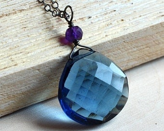 Sapphire Blue Quartz Necklace with Amethyst on Oxidized Sterling Silver - Elizabeth by CircesHouse on Etsy
