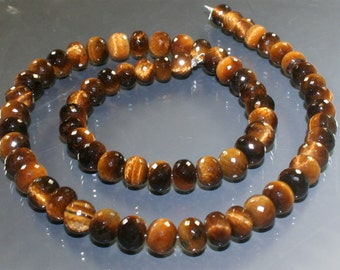 AAA Tiger Eye Micro-Faceted Rondelles 5mm - 7mm