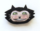 Kitty Face Brooch with Silver Whiskers