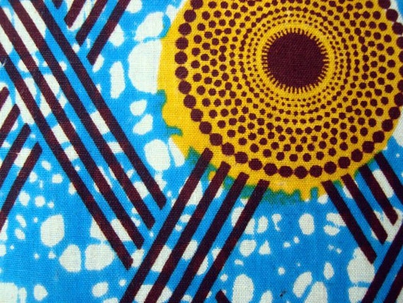 Blue with Yellow circles African wax print batik fabric BY THE YARD 100% cotton.