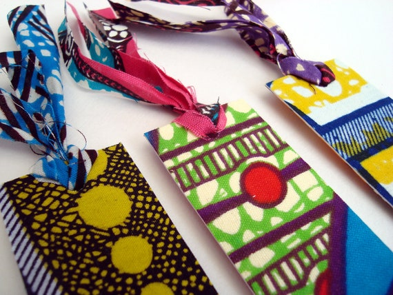 Book mark set, African wax print fabric. For the book lover x 3