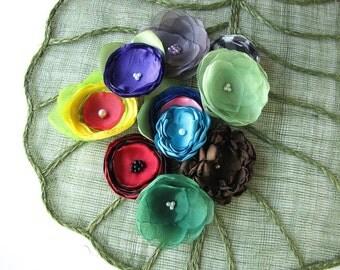 Handmade organza satin sew on flower appliques (10 pcs)- OOAK Destash Bag in Assorted Colors (mix set 206)