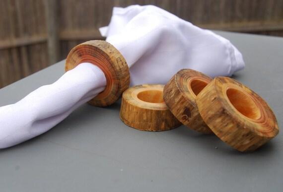 Napkin Holders, Napkin Rings, Handmade, Wood, Wooden, Tree Branch Slices, Pine, Set of 4