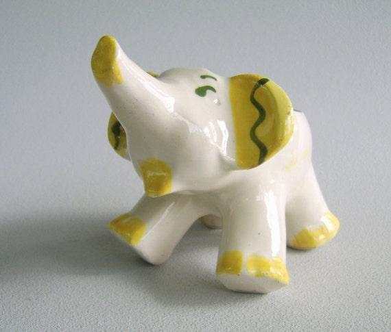 Vintage Ceramic Elephant Planter Handpainted Forties