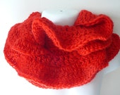 Crocheted Ruffled Wool Scarf in Red     READY TO SHIP     One Size