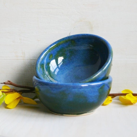Blue Prep Bowls - Handmade Small Rustic Ceramic Bowls - Indigo Blue Prep Bowls - Pair of Pottery Bowls Great for Kitchen Preparation