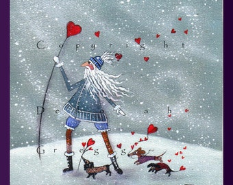 Winter Cheer Is On Its Way    a Small Dachshund Valentine Holiday Winter PRINT by Deborah Gregg