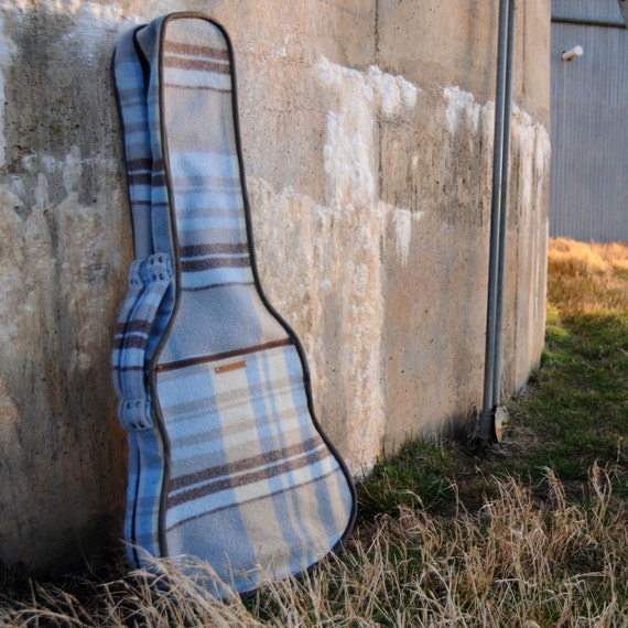 Repurposed Blanket Guitar Case in Dusty Blues, Browns and Cream