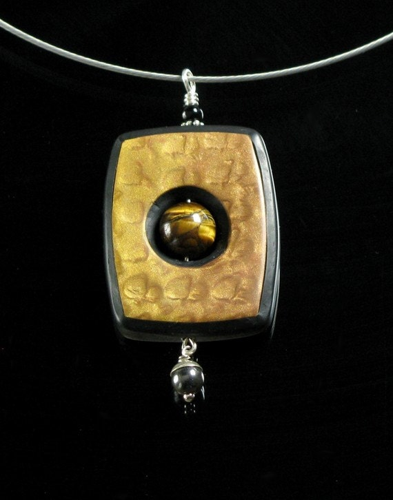 Polymer Clay Pendant Necklace - Polymer Clay Jewelry - Gold and Black Mica Shift  -  Clay Jewelry - Silver Jewelry