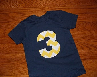 Toddler Boys 3rd Third Birthday Yellow Navy Blue Chevron 3 applique Shirt 3T