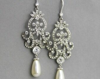 Long Bridal Chandelier Earrings ,  Long  Wedding Earrings ,Crystal and Pearl Earrings, Vintage Style Jewelry ,Crystal Chandelier Earrings