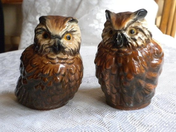 Vintage Owl Figurines Goebel Owls West Germany Ceramic Owl