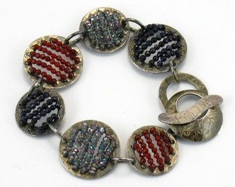 Gemstone Bracelet. Art Jewelry, Black Gray Brown, Sterling Bracelet, Statement Bracelet, Anniversary Gift