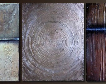 """Large Painting Original Abstract Contemporary Painting Texture Metallic Earth Colors 55""""x14"""""""