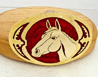 Beautiful Shiny Cold Red Horse Head Belt Buckle