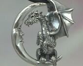 Lunar Dragon Pendant in Sterling Silver