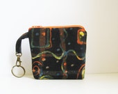 Black Coin Purse, Abstract Art, Key Ring with purse, Modern Art, Geometric