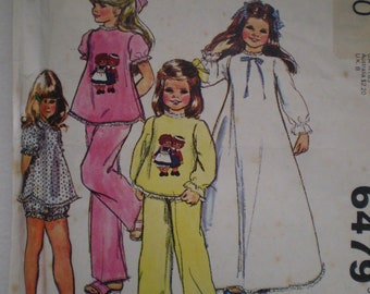 Vintage Girls Nightgown & Pajamas Pattern McCall's 6479 - Size Large Iron on Transfer Included