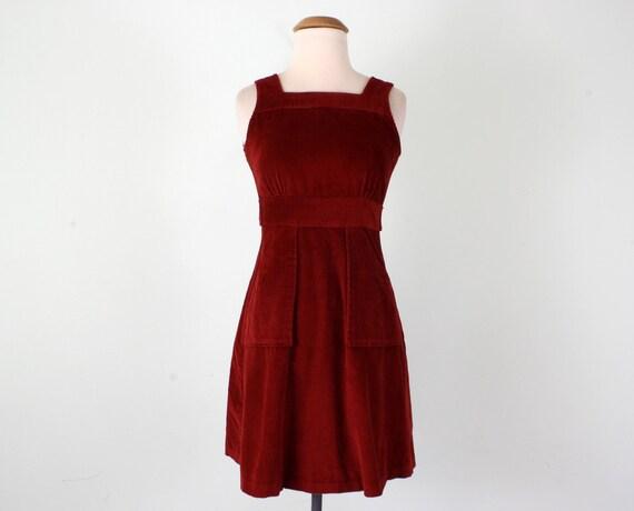 70s dress / rust corduroy jumper mini sleeveless button back (xs - s)