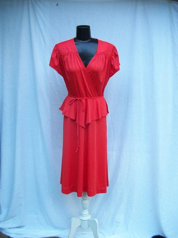 80s Orange Knit Peplum Dress size Medium VICKY VAUGHN