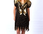 1980's Vintage Gold Beaded Black Silk and Gold Sequins Butterfly Dress