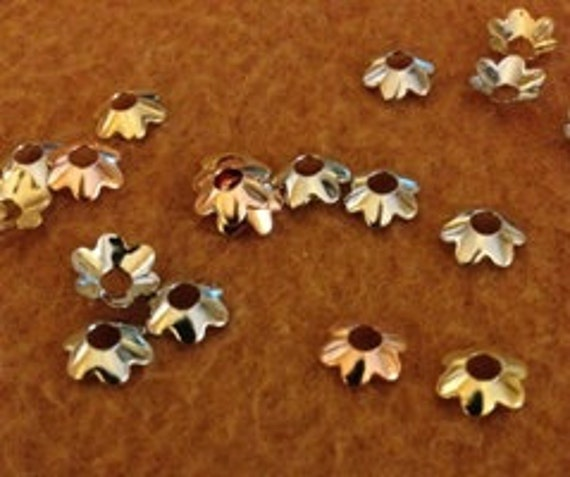 BULK - Appr. 300 Colored Steel Flower Bead Caps  -7x7mm - BULK BUY - fits 6-8mm