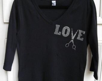 2XL Love with Scissors for Stylist, Three Quarter Sleeve T Shirt