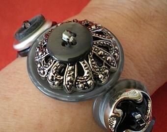 Gray matter - button bracelet