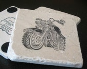 Motorcycle Drink Coasters - Masculine Home Decor - Set of 4 Tile Coasters