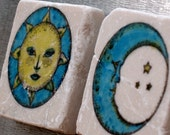 Celestial Sun and Moon Magnets Set of 2, Ready to Ship