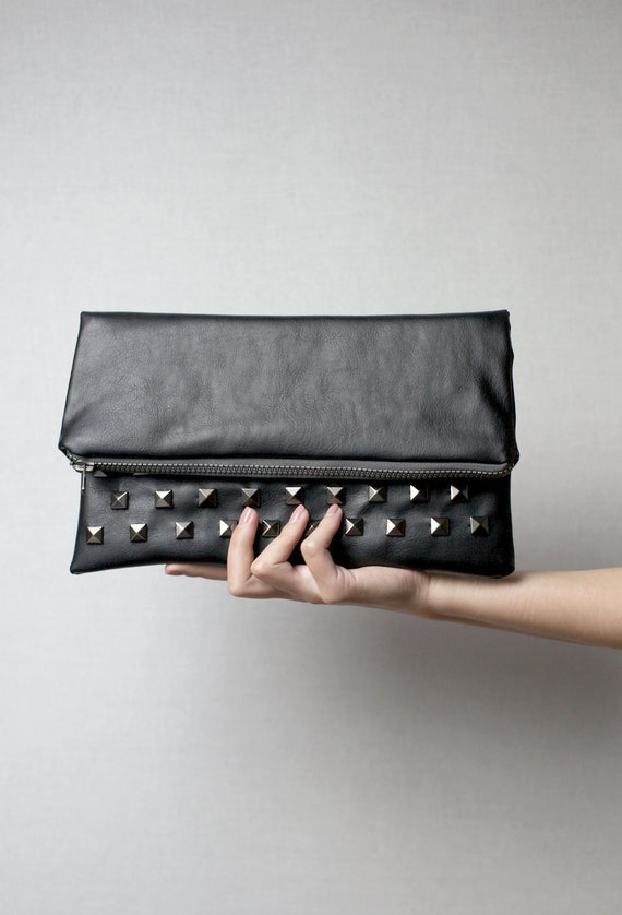 Large leather carry-all pouch (studded bag, large fold over clutch, zippered pouch) One of a kind