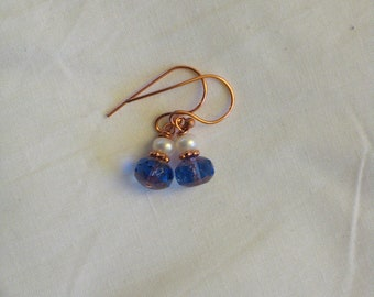 Faceted Bronze and Purple Glass and Freshwater Pearl Earrings on Copper