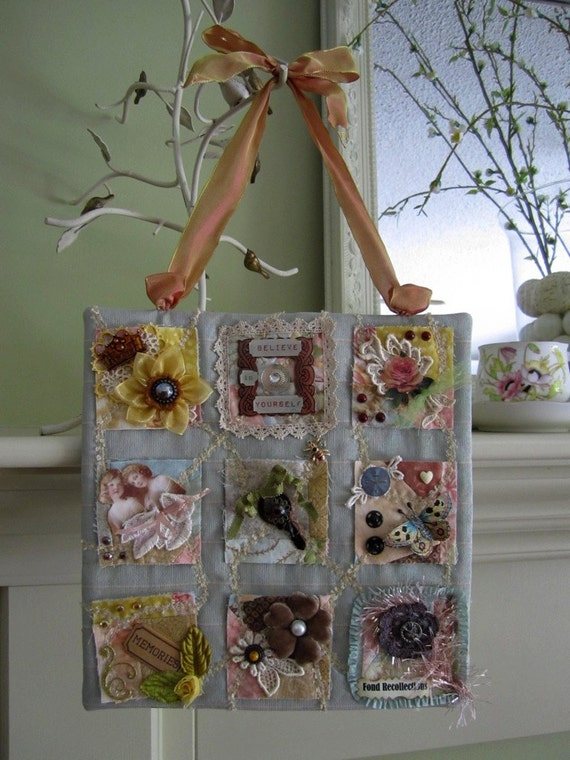 Patchwork Mini Wall Hanging - Shabby Chic Decor - Mini Wall Quilt - Inspirational Decor