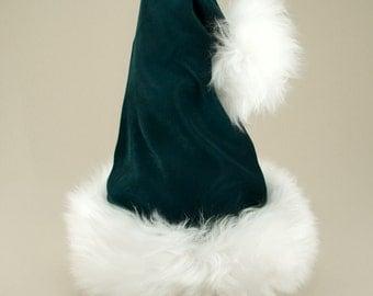 Donner Green Velvet Santa Hat, Reversible to Tartan