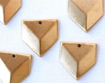 8 faceted CHEVRON geometric jewelry charm. 19mm x 18mm (S45). Please read description