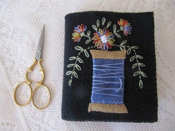 Embroidered Primitive Folk Art Needlebook